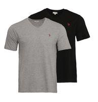 U.S. POLO ASSN. 2er Pack Shirt Basic Herren V-Neck T-Shirt Schwarz/Grau 001