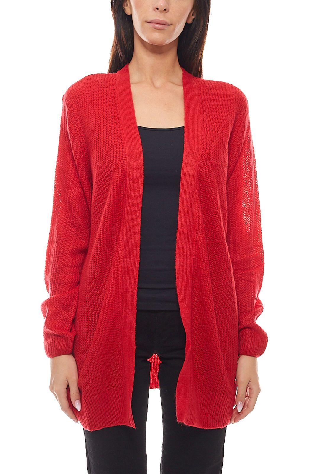 size 40 1d661 94aff Details zu Tom Tailor Cardigan kuschelige Damen Long-Strickjacke Jacke  Freizeit-Jacke Rot