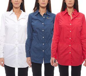 CHIEMSEE Strand-Bluse Damen Strandmode Weiß, Rot & Blau
