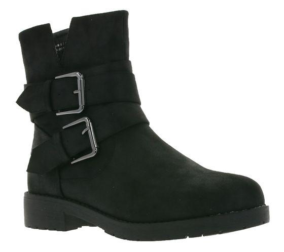 ONYGO Damen Stiefel moderne Schnallen-Boots Sue Schwarz