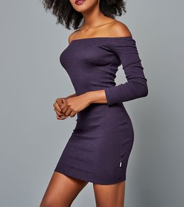 FUNKY BUDDHA Mini Rippstrick-Kleid sexy Off-Shoulder-Kleid Violett