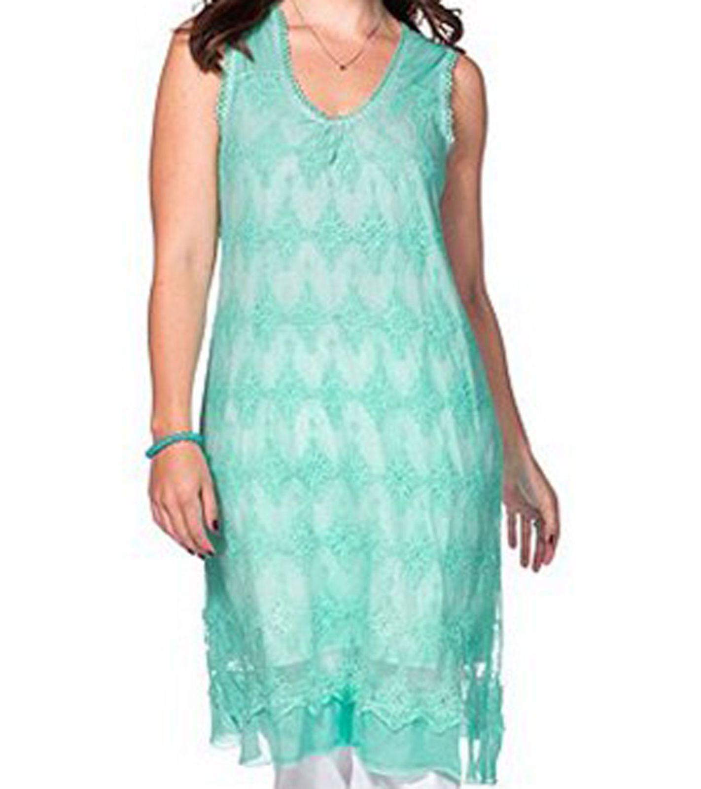 sheego elegantes Damen Spitzen-Kleid mit Stickereien in Mint Farben Große  Größen