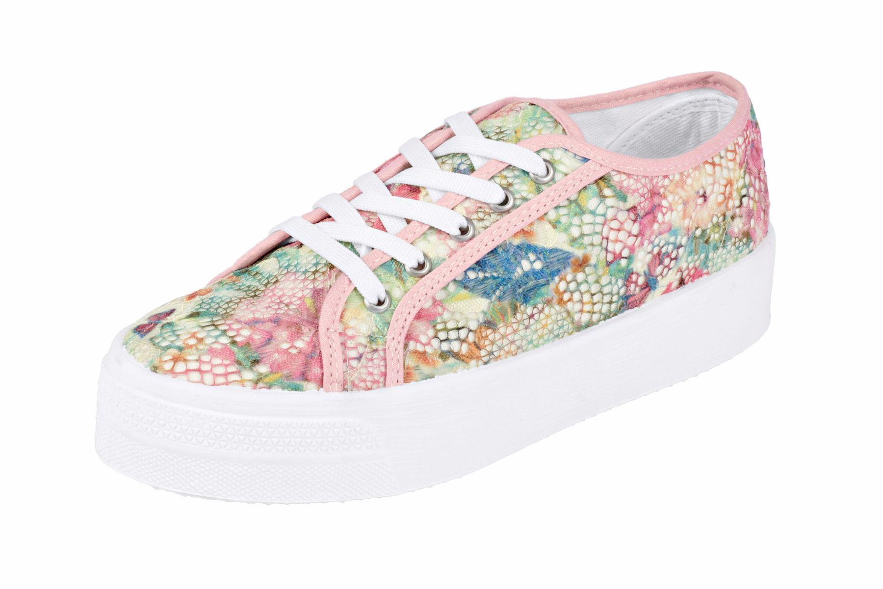 heine Schuhe schicke Damen Plateau Sneaker mit floraler Spitze RosaWeiß
