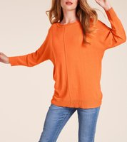 ashley brooke Oversized-Pullover trendiger Damen Herbst-Pullover mit 3/4 Ärmeln Orange