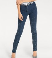 ashley brooke Hose Jeans schicke Damen High Waist-Jeans mit Schmucksteinchen Blau
