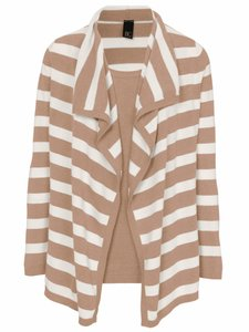 B.C. Best Connections Cardigan Strick-Twinset schicker Damen Strick-Jacke mit Top Beige/Weiß