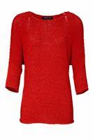PATRIZIA DINI Pullover Strick-Pullover farbenfroher Damen 3/4-Arm Pulli mit Bändchengarn Rot