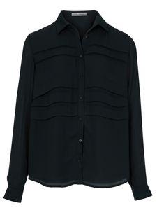 ashley brooke Bluse Langarm-Bluse lässige Damen Hemd-Bluse mit Falteneinsatz Große Größen Schwarz