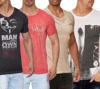 Tazzio Fashion Party T-Shirts schicke Herren Freizeit-Shirts mit Frontprints