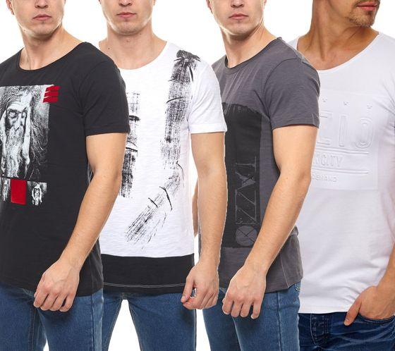 Tazzio Fashion Shirt Kurzarm-Shirts angesagte Herren Rundhals T-Shirts mit Print