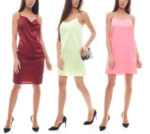 NA-KD Fashion Mini-Kleid Neon-Kleid glänzende Damen Kleider