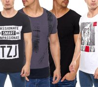 Tazzio Fashion Rundhals-Shirt modische Herren Slim-Fit Shirts in verschiedenen Farben
