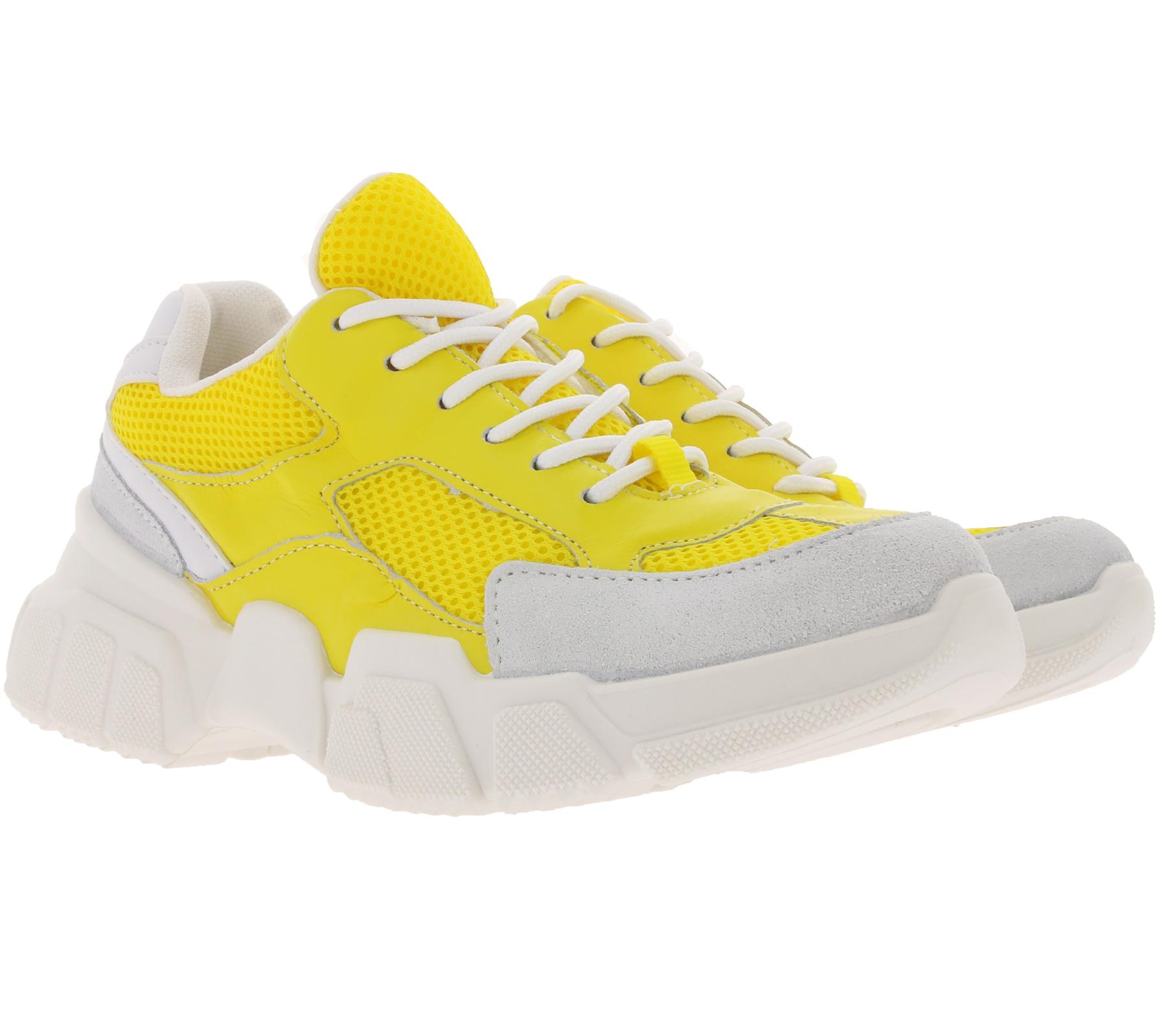 Details zu heine Schuhe auffällige Damen Plateau Sneaker Turnschuhe im Retro Look Gelb