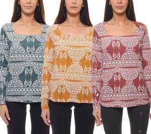 Cheer Langarm-Shirt gemustertes Damen Herbst-Shirt mit rechteckigem Ausschnitt in tollen Farben