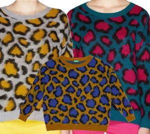 UNITED COLORS OF BENNETON Strick-Pullover kuscheliger Damen Pulli im Animal-Print