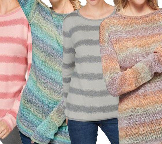 Cheer Strick-Pulli gestreifter Herbst-Pullover für Damen mit langen Ärmeln