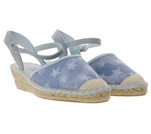 s.Oliver Espadrilles stylische Damen Sandale mit silberner Schnalle Blau