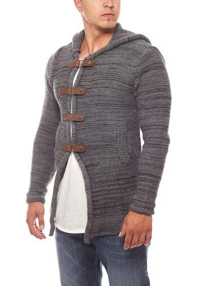 Tazzio Fashion Pullover Hoody Strick-Jacke Cardigan Grau