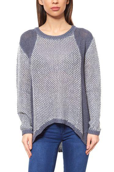Vokuhila Pullover Damen Blau