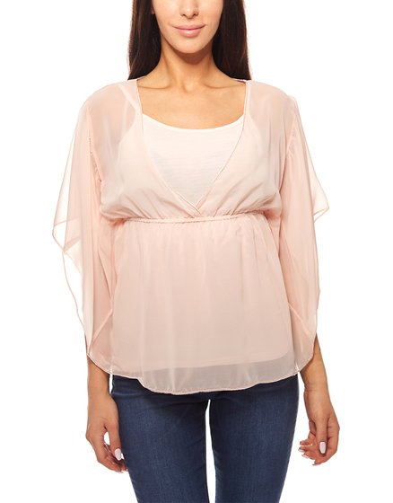 Bluse mit Top 2 in 1 Set Perlen Ausschnitt Rosa vivance collection