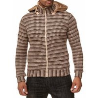 Tazzio Fashion Herren Strickjacke Hoody Bison