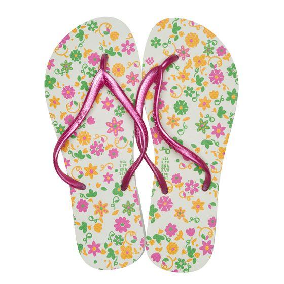 dupé Damen Badeschuhe geblümte Zehentrenner Weiß Schuhe