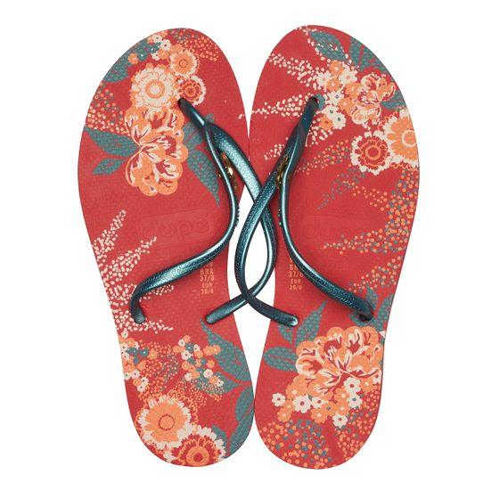 dupé Damen Badelatschen florale Zehentrenner Rot Schuhe