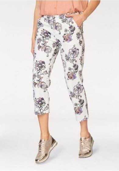 BOYSEN´S feminine Damen Capri-Hose mit floralem Print Weiß