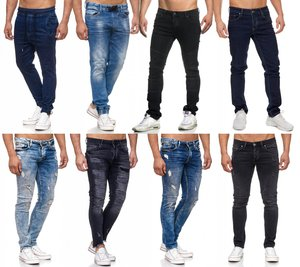 Tazzio Fashion Herren-Jeans Slim Fit Hose Used Look Denim